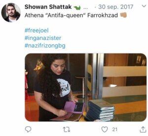 """Athena """"Antifa-Queen"""" Farrokhzad iklädd en T-shirt som säljes på Red Deer Collective."""