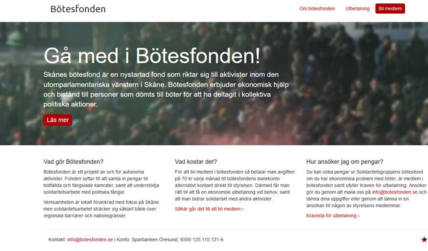 Ett skärmklipp från den nu nedstängda botesfonden.se