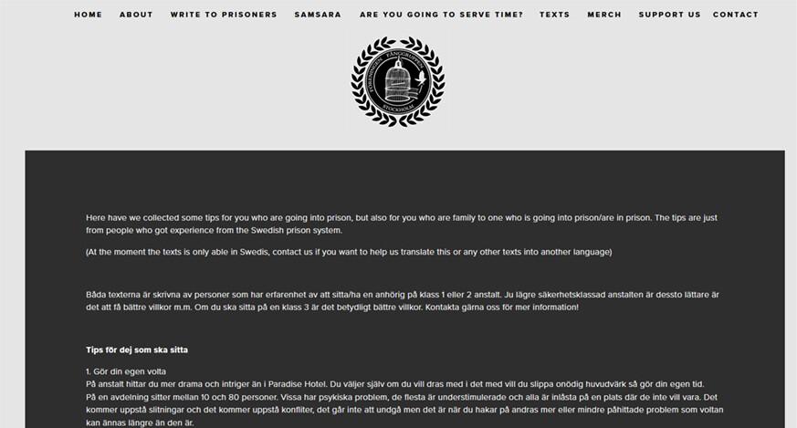 Ett skärmklipp från den nu nedstängda fanggruppen.com