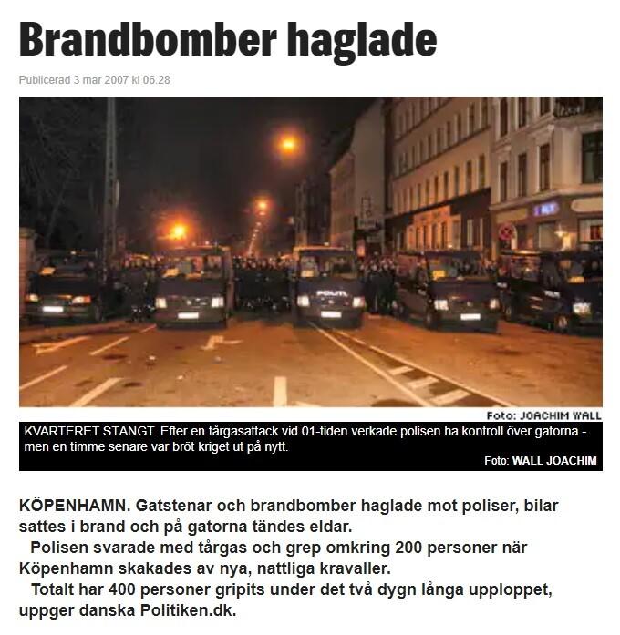 Upplopp i Köpenhamn.