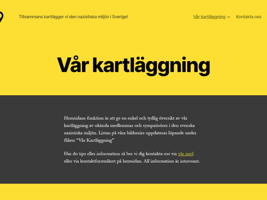 Skärmklipp från nazispotting.se