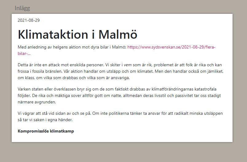 Vänsterextrem klimataktion i Skåne.