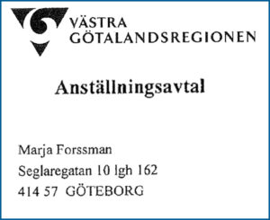 Marja Forssmans anställningsavtal.